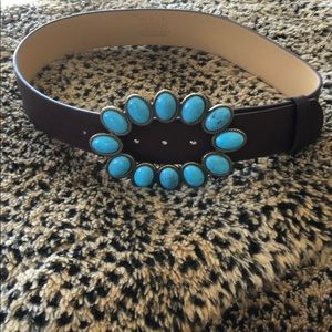 Accessories - Turquoise buckle leather belt